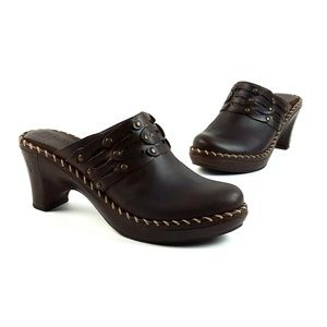 Frye Charlotte Brown Belted Leather Clog Mules